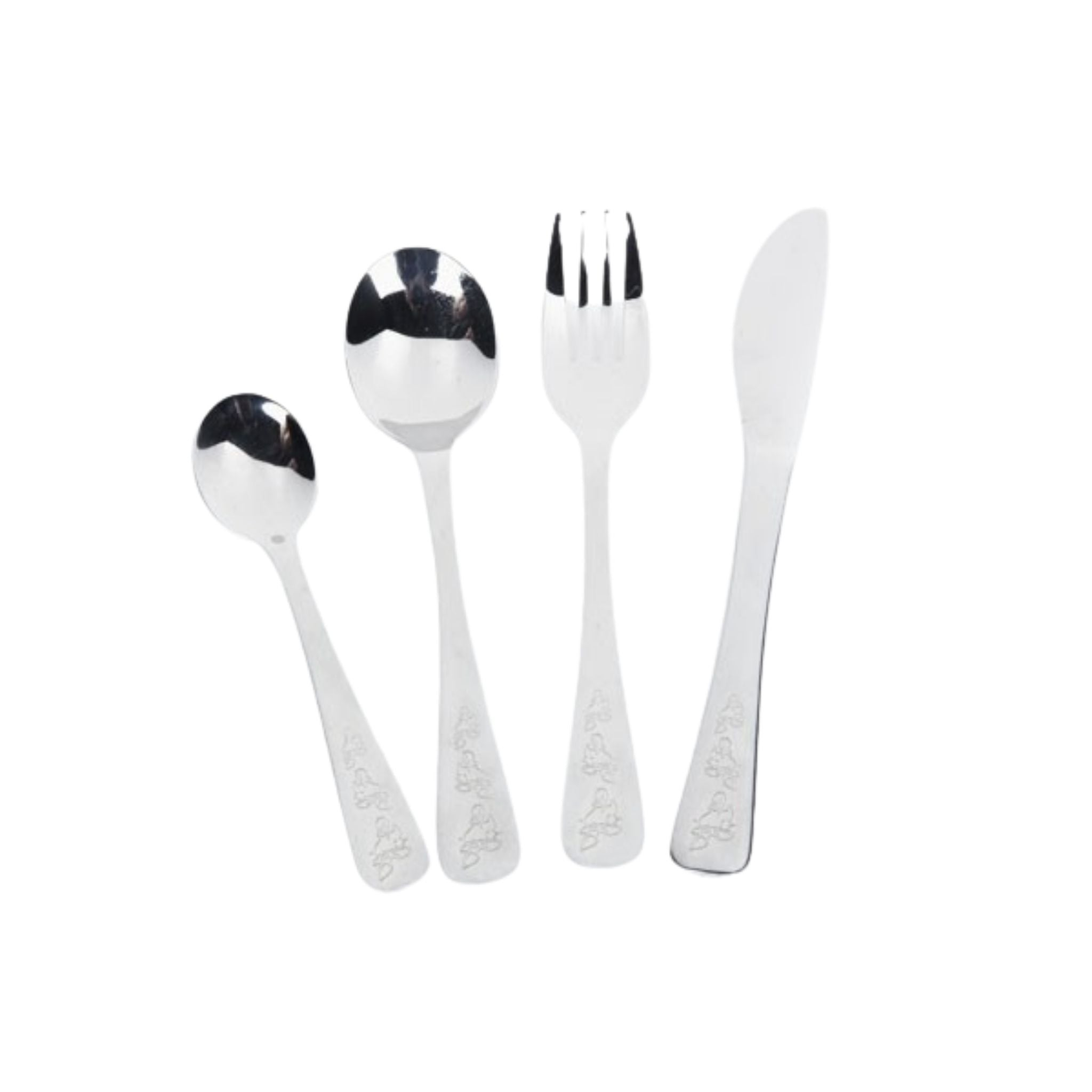 onyx cutlery duckies, engraved duck pattern on bottom of cutlery, from left to right, small spoon, large spoon, fork, knife