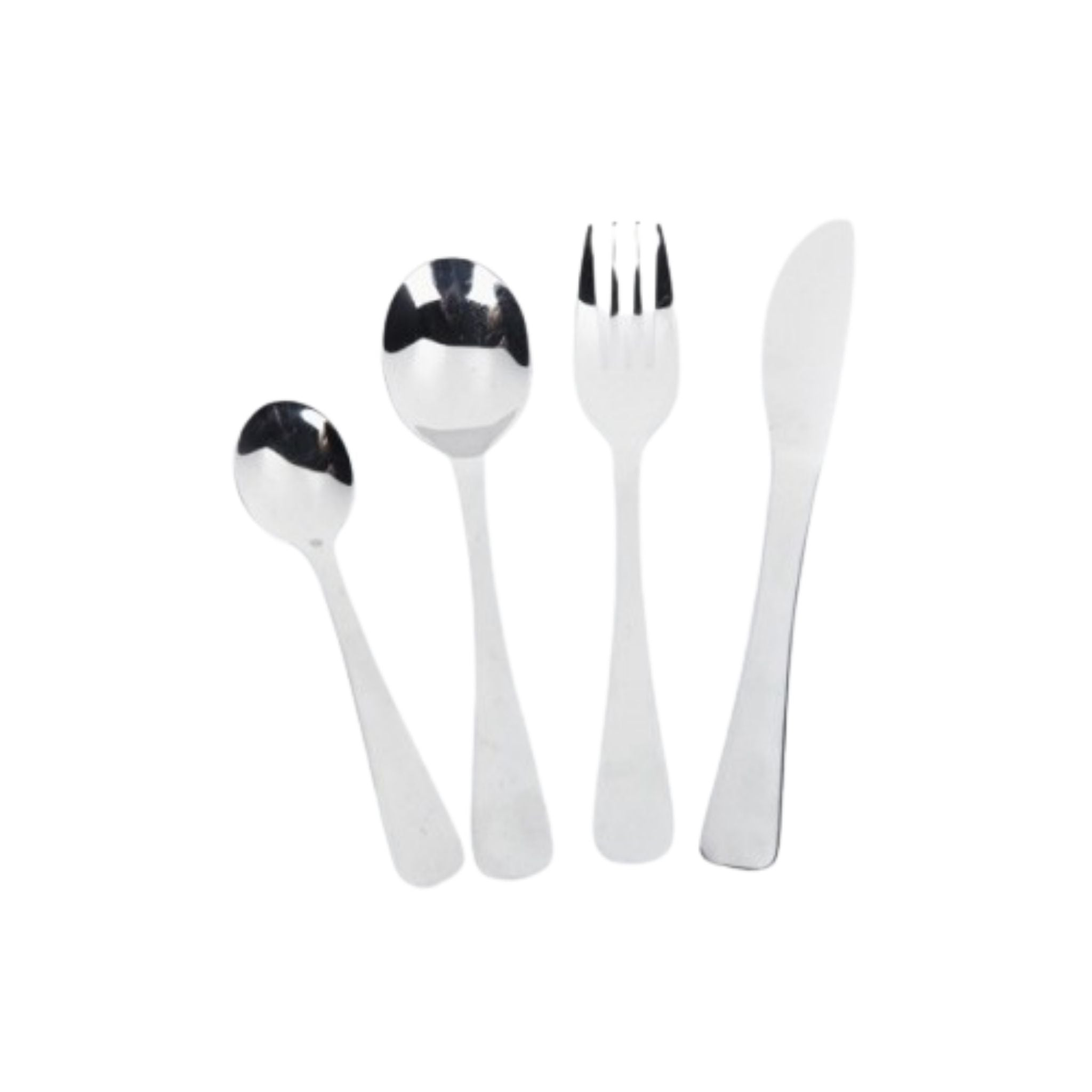 onyx cutlery plain from left to right, small spoon, large spoon, fork, knife