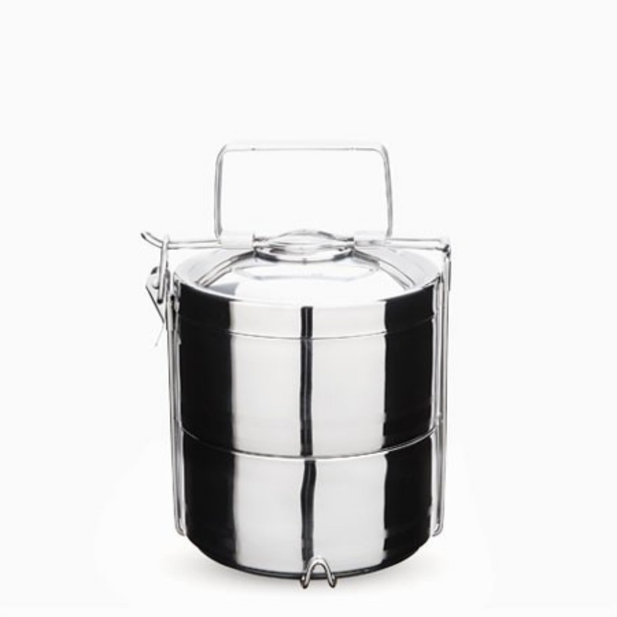 onyx tiffin container 2 round containers and one lid stacked together with handle and latch around it