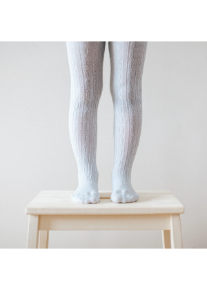 Lamington Merino Wool Cable Tights - Snow Grey  -Go Green Baby