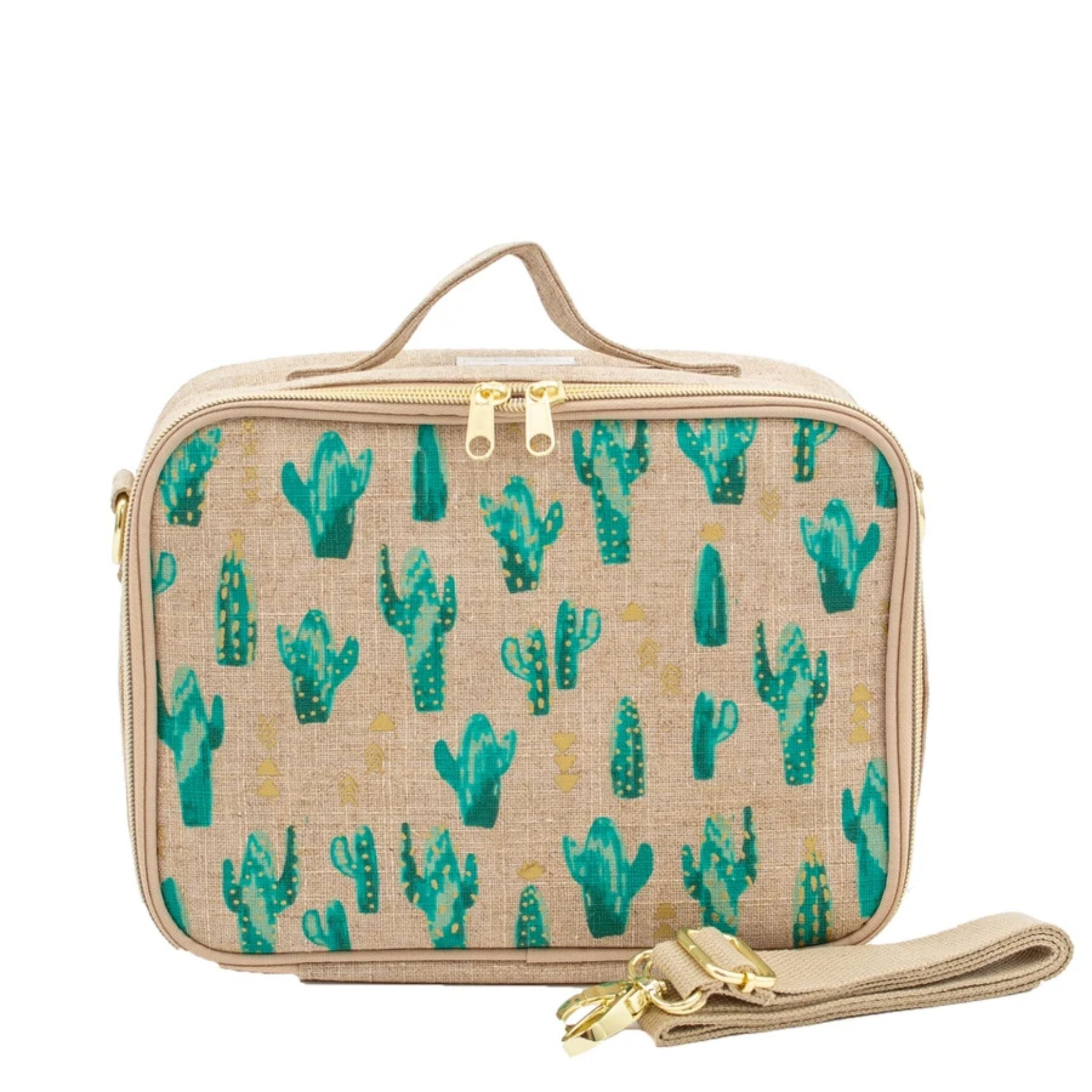 so young lunch bag cacti desert, tan and gold trim and handles, gold and green cactus print