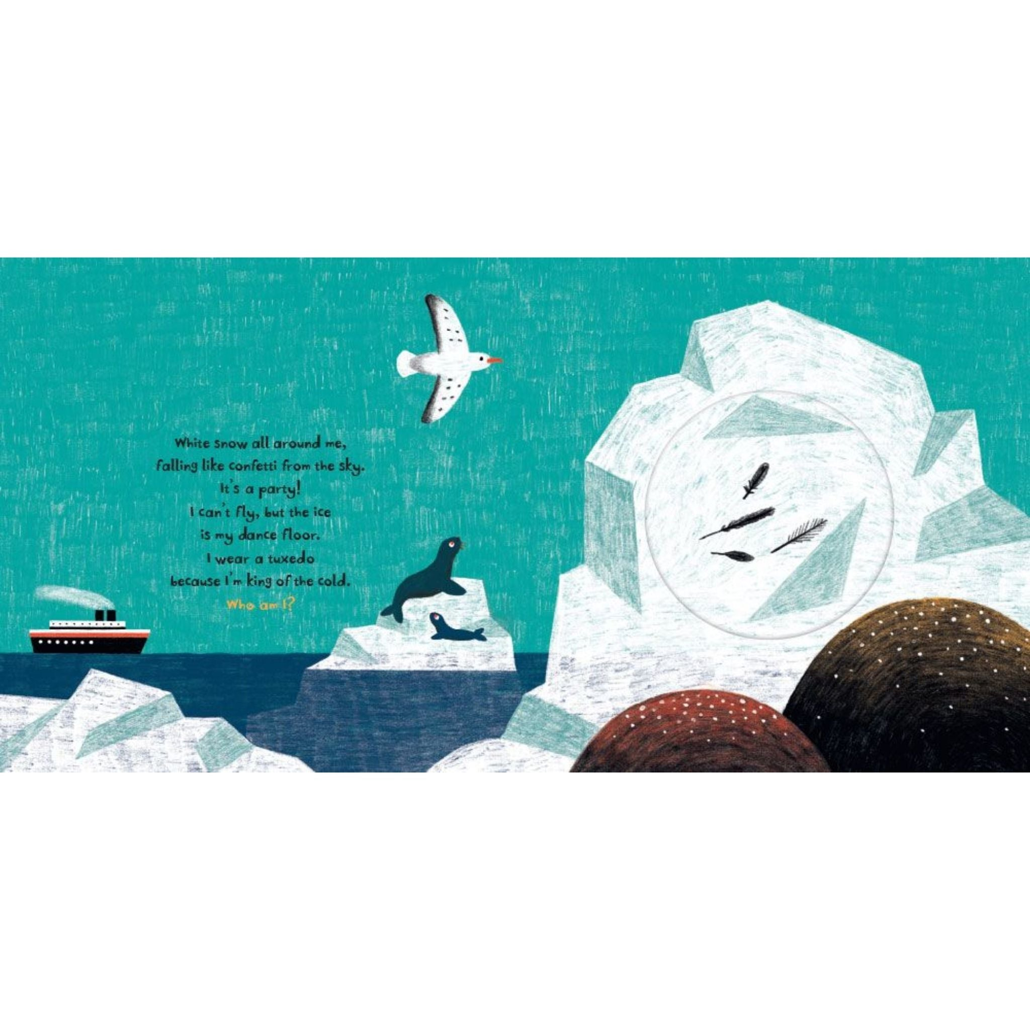 tweet interior icebergs, seals, bird, boat ocean scene