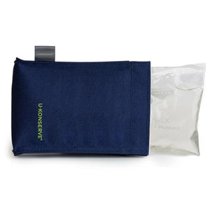 u konserve ice pack navy, u konserve logo on left side, shows interior of ice pack sticking out of the cover