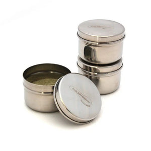 u konserve mini container set stainless steel with kids konserve logo on lid, two stacked, one open with food inside