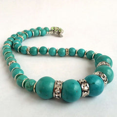 Green Magnesite  Stone & Swarovski Crystals Necklace