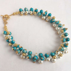Bibelot Gold, Turquoise & White Pearls Necklace