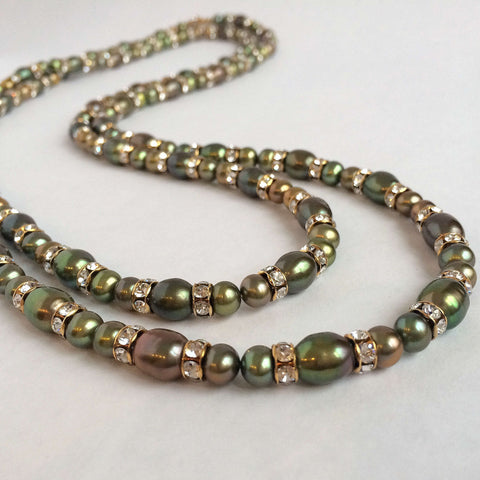 Signature Natural Pearls & Swarovski Crystals Necklace (Double Row)