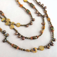 Copper, Natural Pearls & Mother of Pearl Double Row Necklace