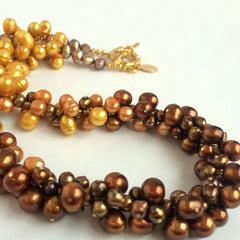 Natural Pearls Bibelot Necklace in Copper Brown & Gold Tones