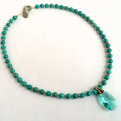Green Magnesite Stones, Sterling Silver & Swarovski Crystal Drop Necklace
