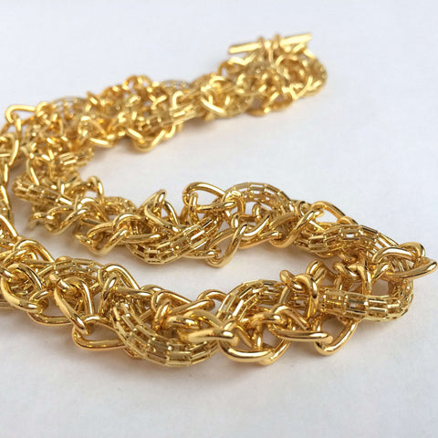 Braided Gold Chains Necklace