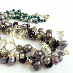 Natural Pearls, Quartz, Amethyst, Labradorite  & Fire Polish Crystal Bibelot Necklace