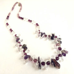 Amethyst Stone & Swarovski Crystal Pendants Necklace