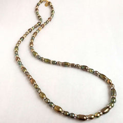 Signature Natural Pearls & Swarovski Crystals Necklace in Golden Olive and Iris Tones