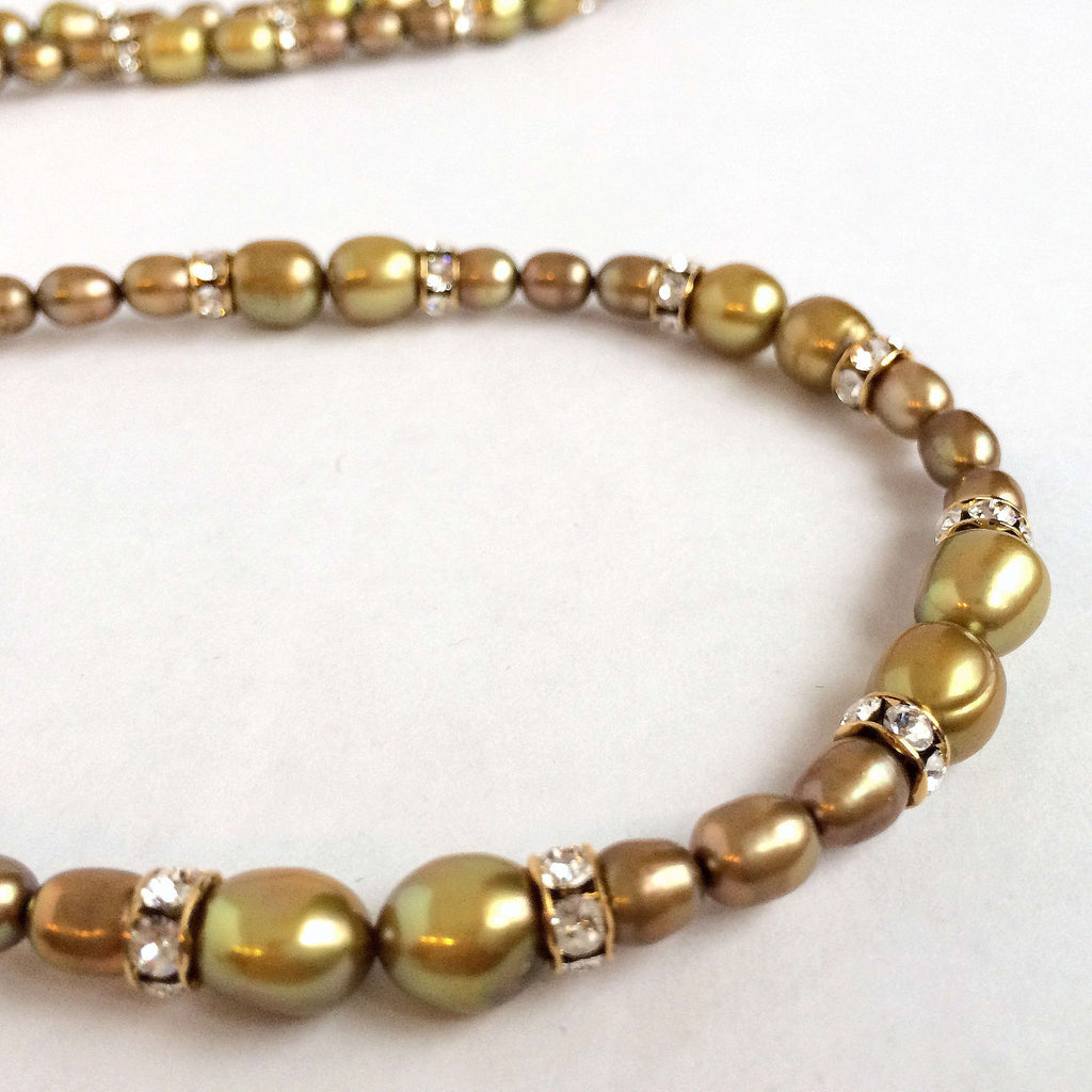 Signature Natural Pearls & Swarovski Crystals Necklace in Golden Tones