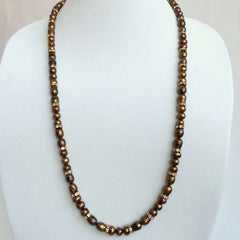 Signature Natural Pearls & Swarovski Crystals Necklace in Brown and Copper Tones