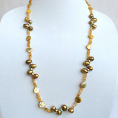 Natural Pearls, Citrine Stone, Mother of Pearl & Swarovski Crystals Necklace