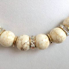 White Magnesite Stone & Swarovski Crystals Necklace