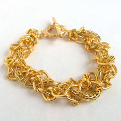 Braided Gold Chains Bracelet