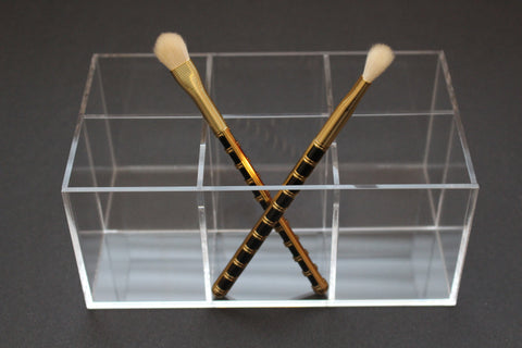 Clear acrylic LUX Brush and Stix Holder with 6 sections