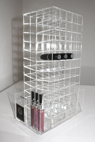 Clear acrylic spinning LUX Lip Stand with 120 sections for lipsticks