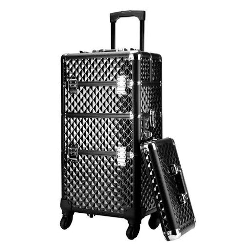 Diamond Rolling Makeup Trolley (2 compartment)