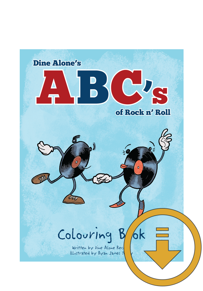 Dine Alone's ABC's of Rock n' Roll Children's Colouring Book (Download)