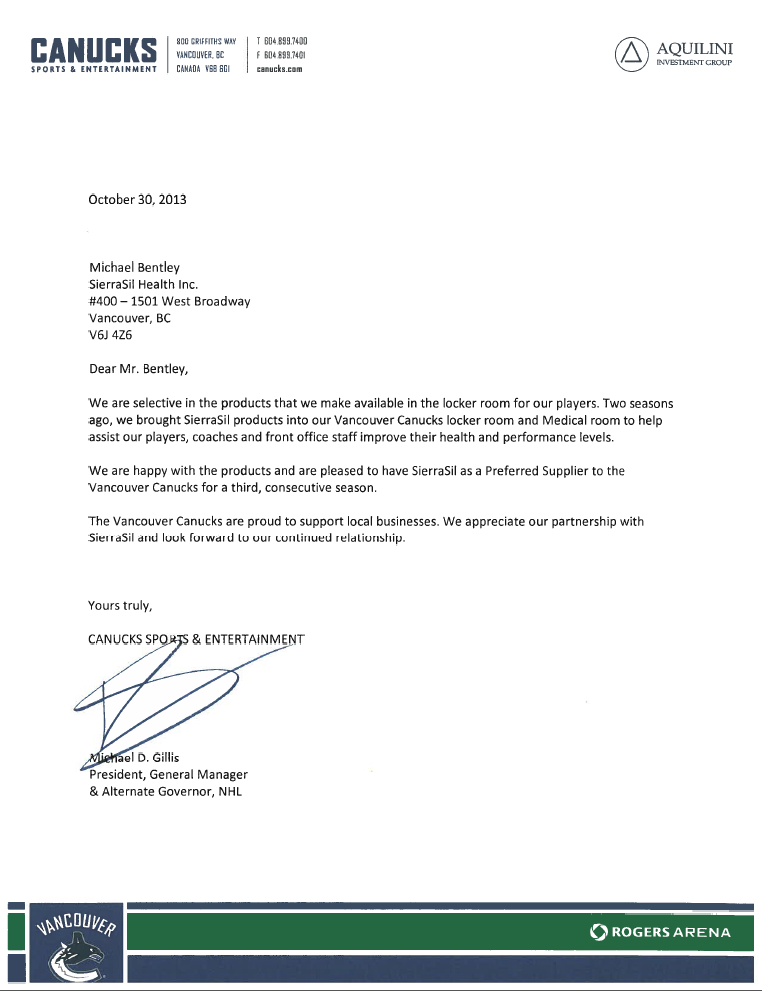 Letter from Vancouver Canucks