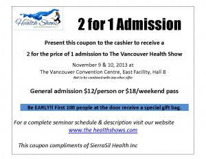 Vancouver 2013 Health Show Coupon