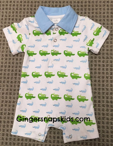 Three Sisters Boys Alligator Romper (sz NB-9m)