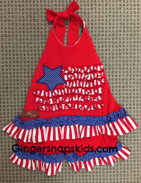 Millie Jay Stars & Stripes Halter Shorts Set (sz 12m-6X)