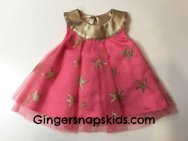 Petit Lem Sea Princess Pink Starfish Dress (sz. 3m-24m)