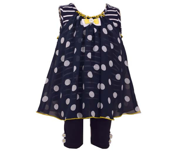 Nautical Chiffon Dot Leggings Set (sz 0/3m-4T)