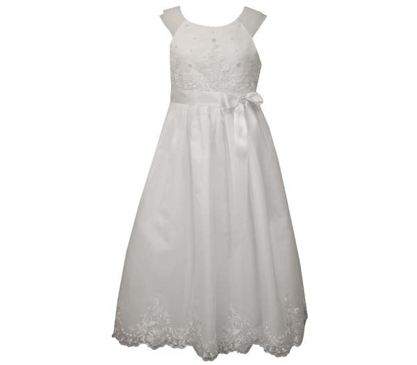 White Organza Flounce Communion Dress sz 7-12