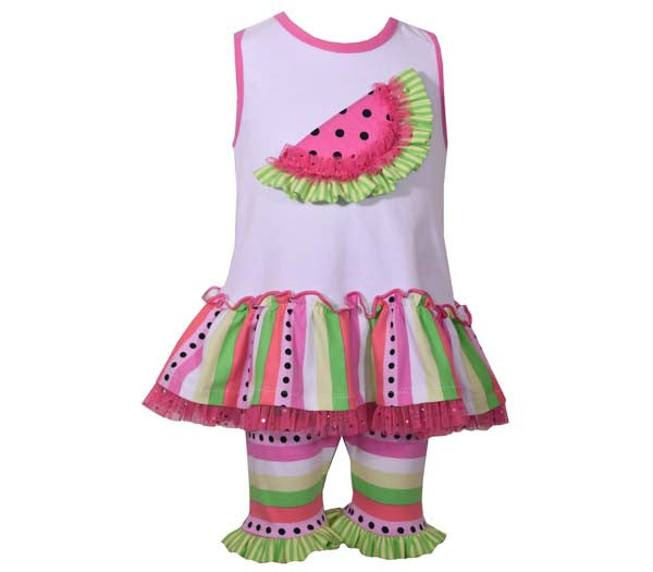 Watermelon and Ruffled Bike Shorts Set (sz 12m-4T)