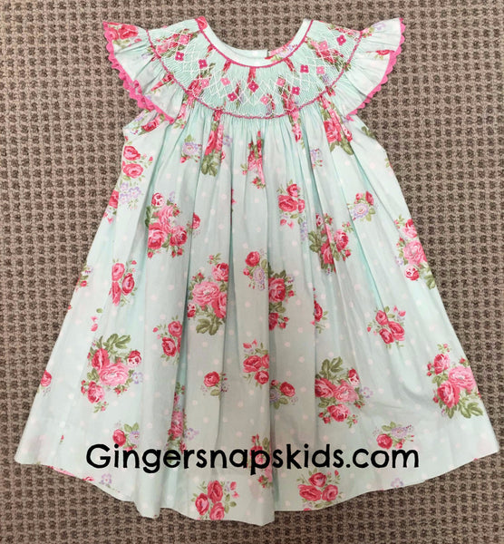 Three Sisters Smocked Shabby Rose Bishop Dress (12m-4T)