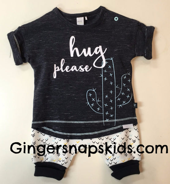 Petit Lem Hug Please Cactus Shorts Set (sz. 3m-12m)