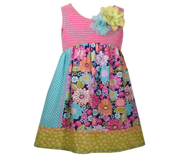 Fuchsia Striped and Mixed Prints Dress (sz 0/3m-24m)