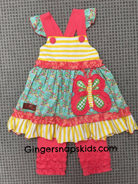 Millie Jay Butterfly Applique Dress & Leggings Set (sz 2t-6X)