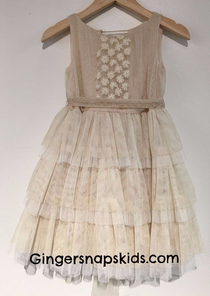 Luna Luna Chloe Antique White Tiered Dress (sz. 3-6) | SPRING 2017 PREORDER