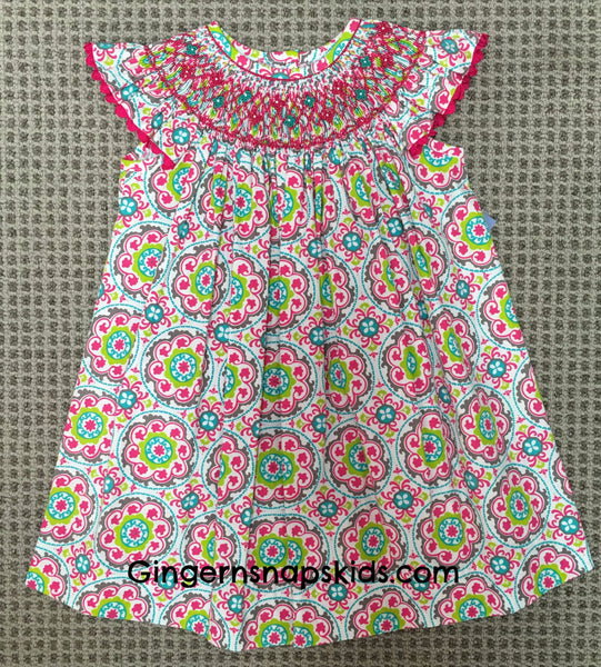 Three Sisters Smocked Summer Splash Bishop Dress (2T-6X) | SPRING 2017 PREORDER