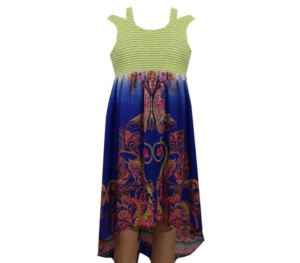 Royal Hi Low Border Dress (sz 7-16)