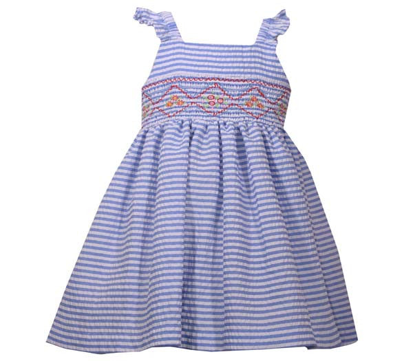 Blue Seersucker Smocked Dress (sz 0/3m-4T)