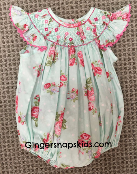 Three Sisters Smocked Shabby Rose Bubble Romper (9mo last 1)