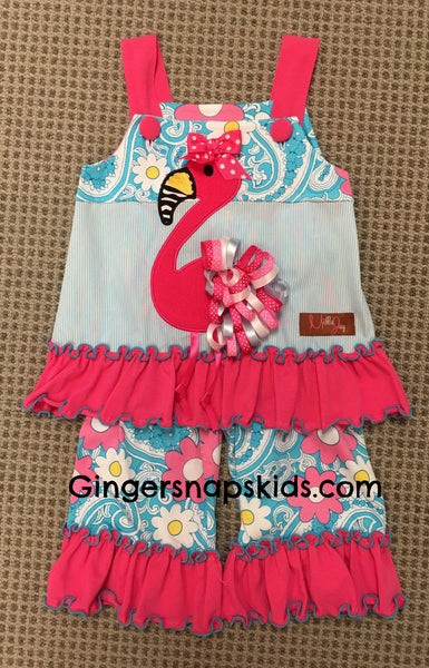 Millie Jay Fancy the Flamingo Capri Set (sz 2T-4T) | SPRING 2017 PREORDER