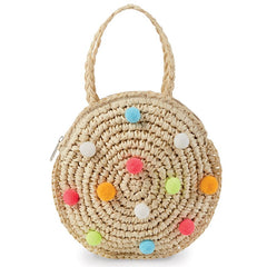 Mud Pie Kids Straw Mini Pom Pom Purse