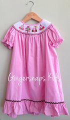 Birthday Owl Bishop Smocked Party Dress (sz 2t-4t)