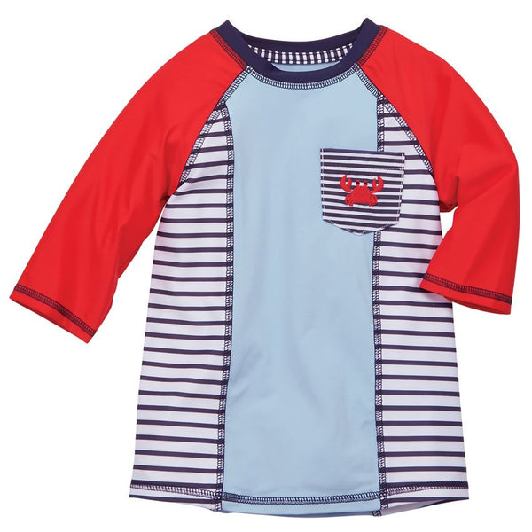 Mud Pie Blue & Red Crab Rash Guard Swim Top |PREORDER|