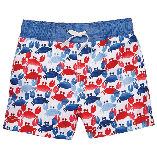 Mud Pie Red & Blue Crab Swim Trunks |PREORDER|