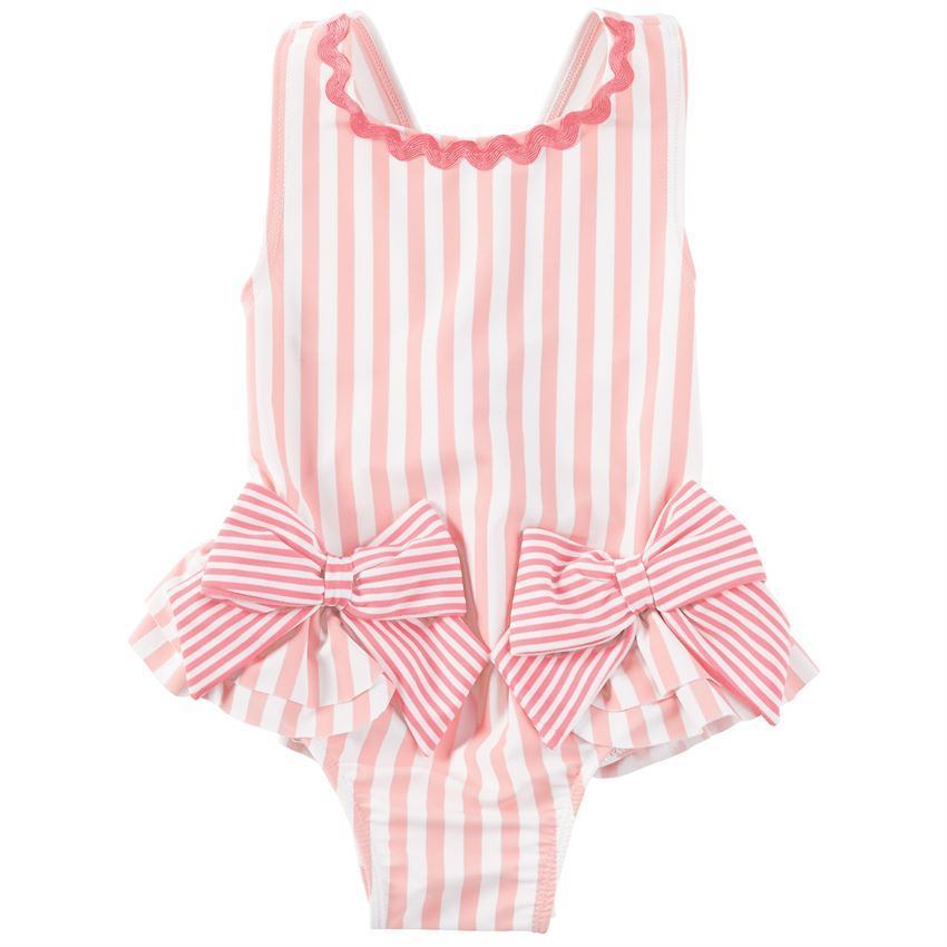 Mud Pie Pink Bow Candy Striped Swimsuit |PREORDER|